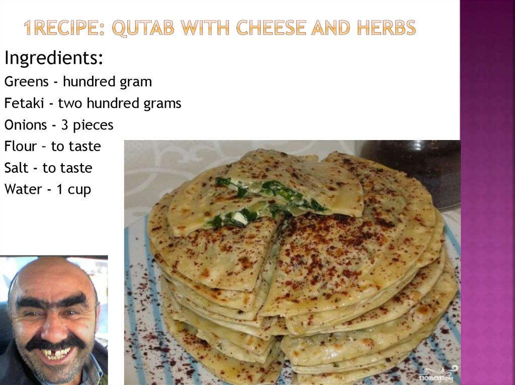 1recipe: Qutab with cheese and herbs