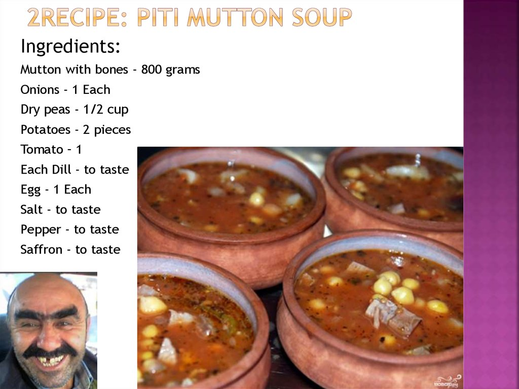 2recipe: Piti Mutton Soup