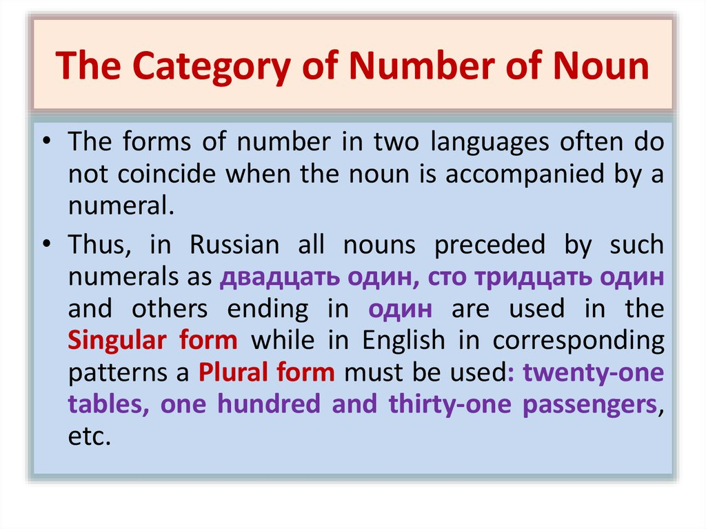 The Category of Number of Noun