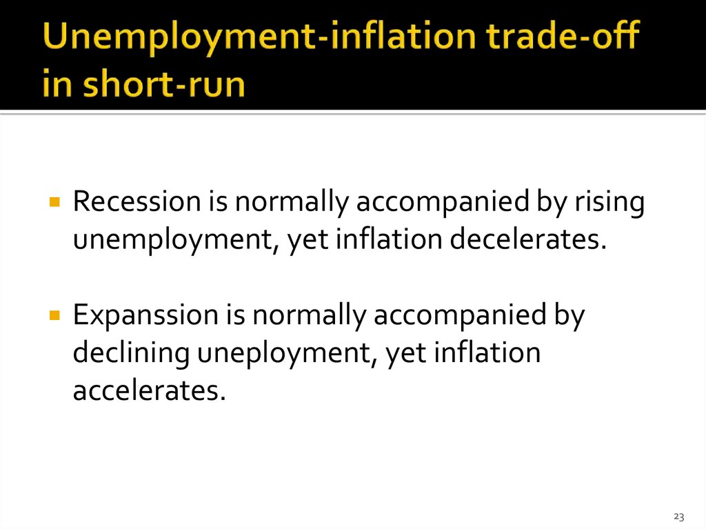 Unemployment-inflation trade-off in short-run
