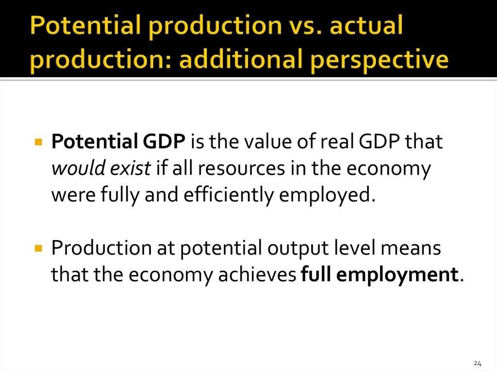 Potential production vs. actual production: additional perspective
