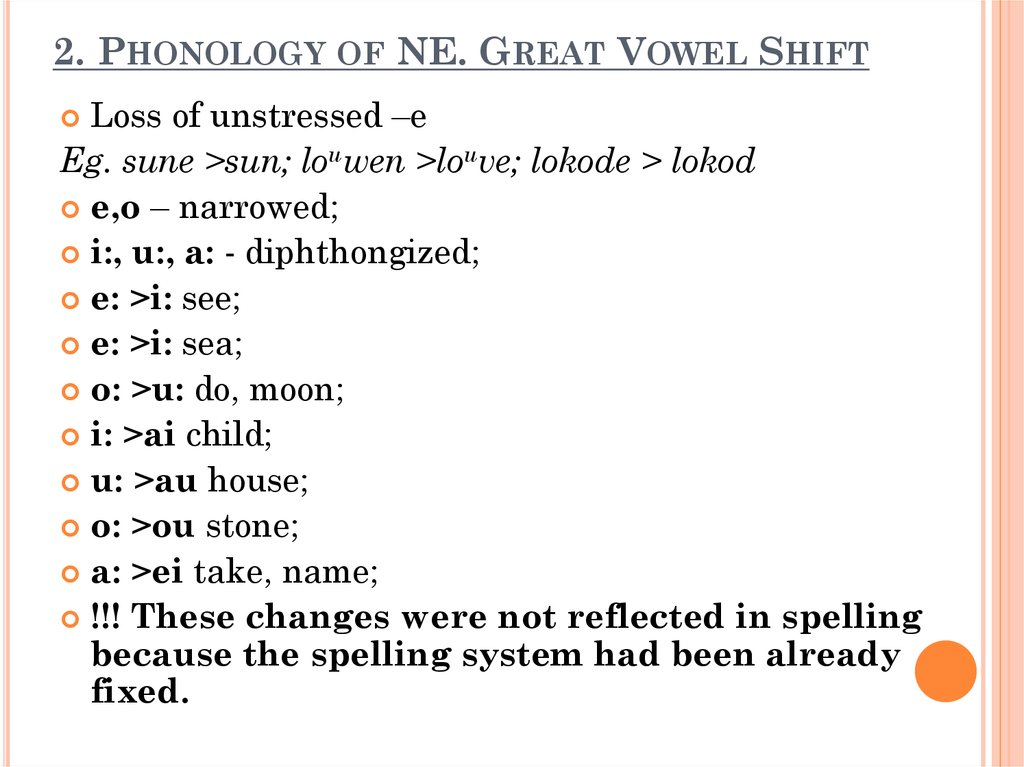 2. Phonology of NE. Great Vowel Shift