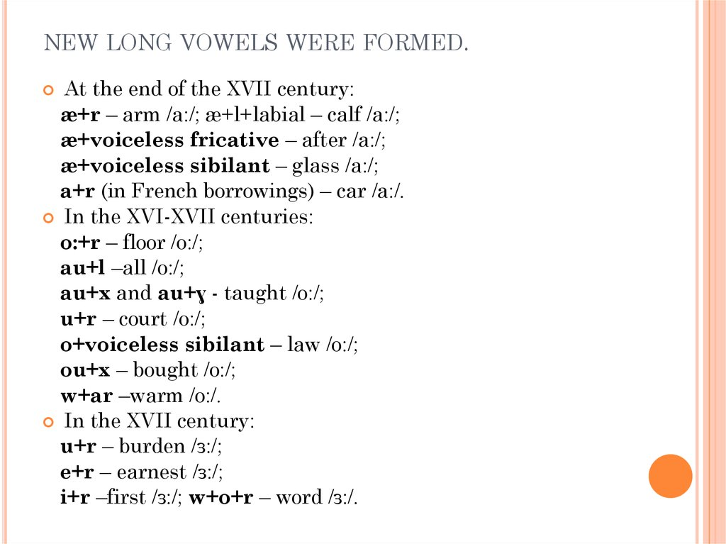 new long vowels were formed.