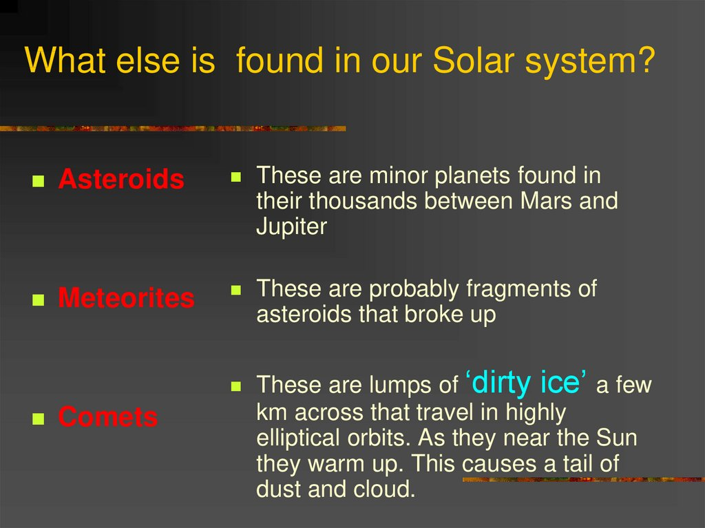 What else is found in our Solar system?