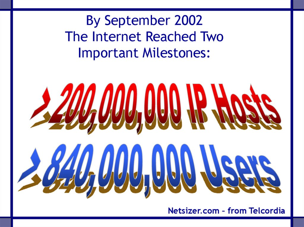 By September 2002 The Internet Reached Two Important Milestones: