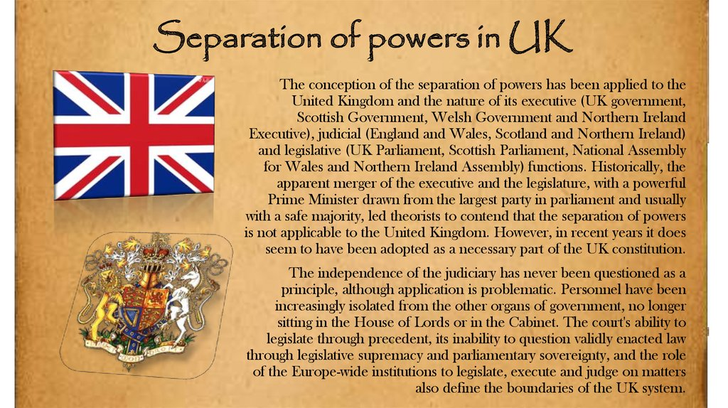 Separation of powers in UK