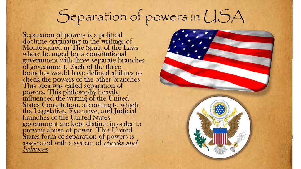 Separation of powers in USA