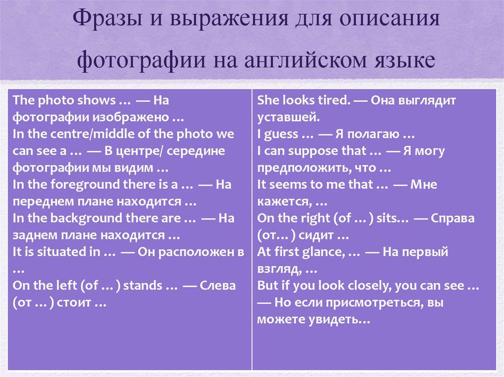правило описания картины на английском для смазывания