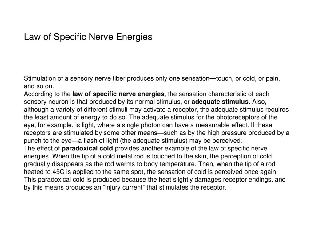 Law of Specific Nerve Energies