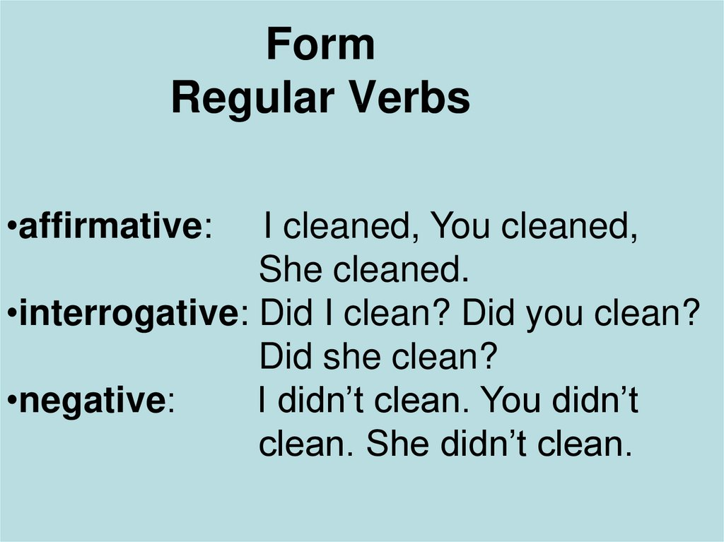 Form Regular Verbs