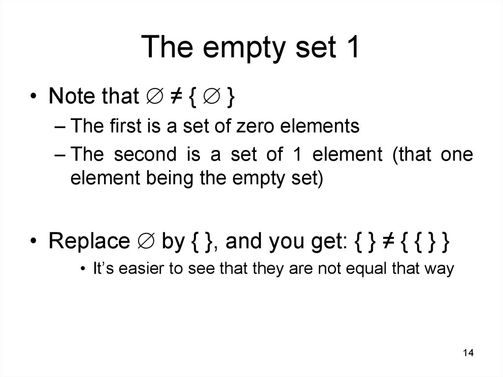 The empty set 1