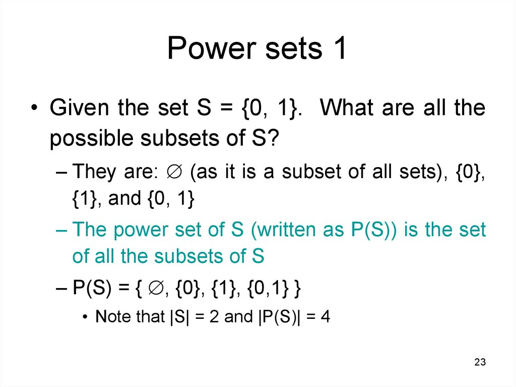 Power sets 1