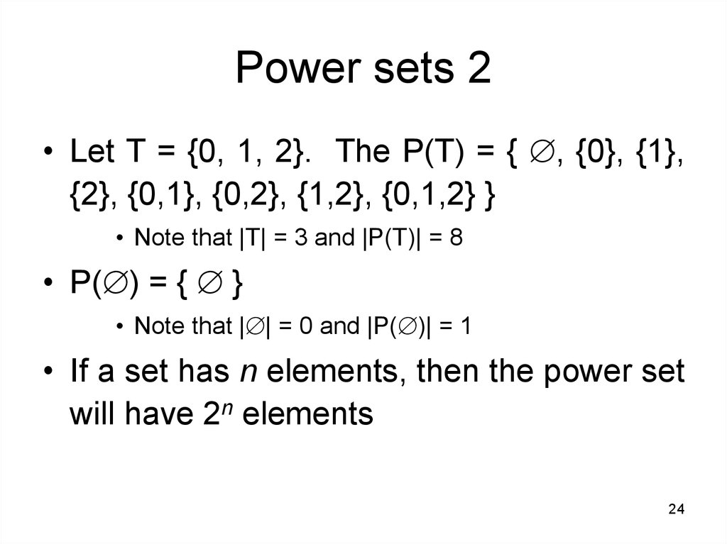 Power sets 2