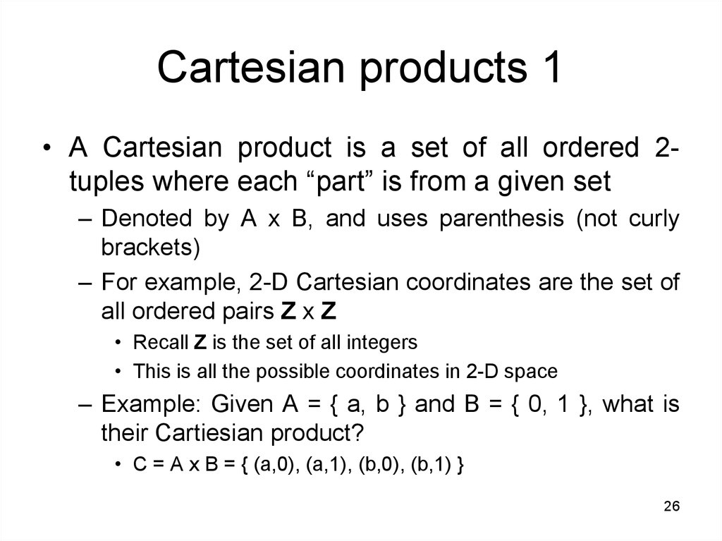 Cartesian products 1