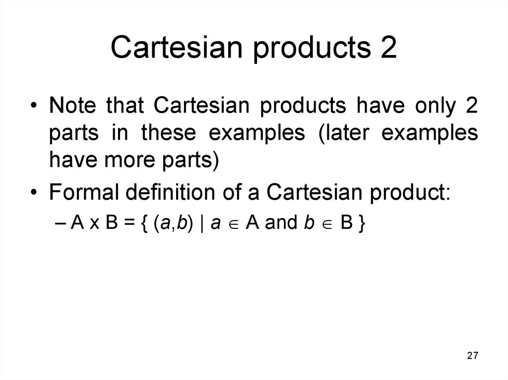 Cartesian products 2