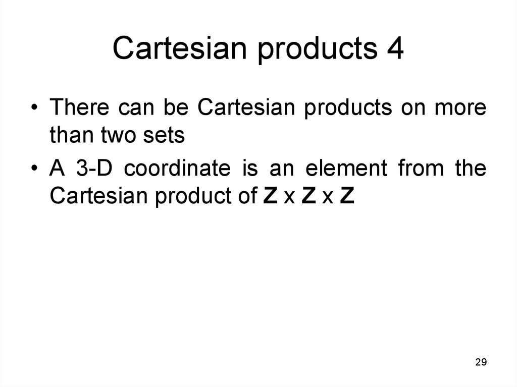Cartesian products 4