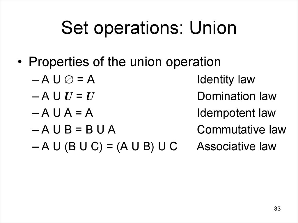 Set operations: Union