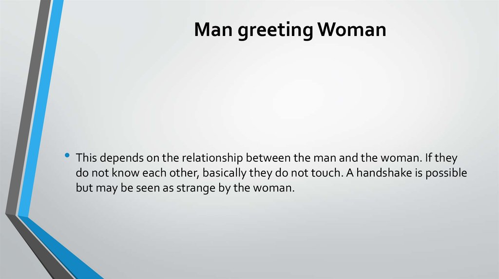 Man greeting Woman