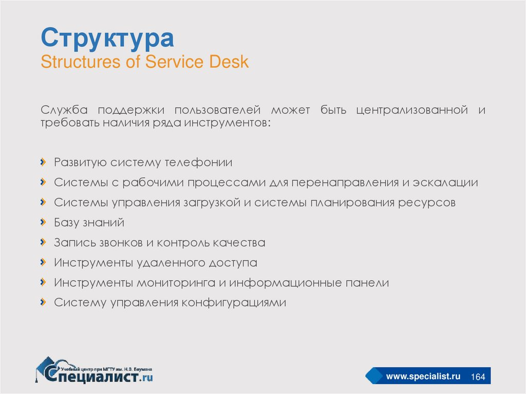 Структура Structures of Service Desk