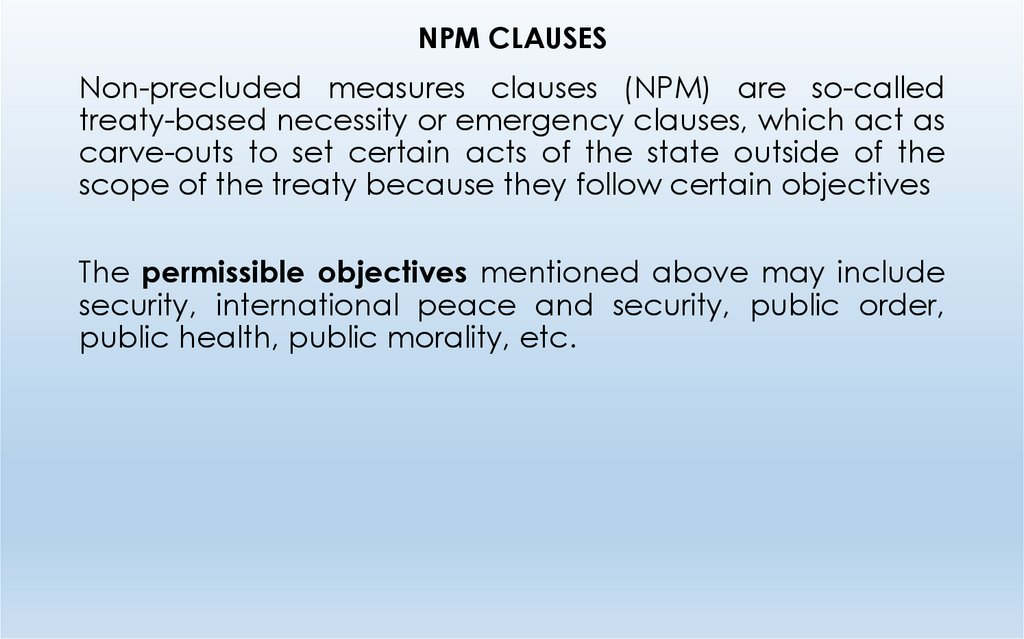 NPM CLAUSES