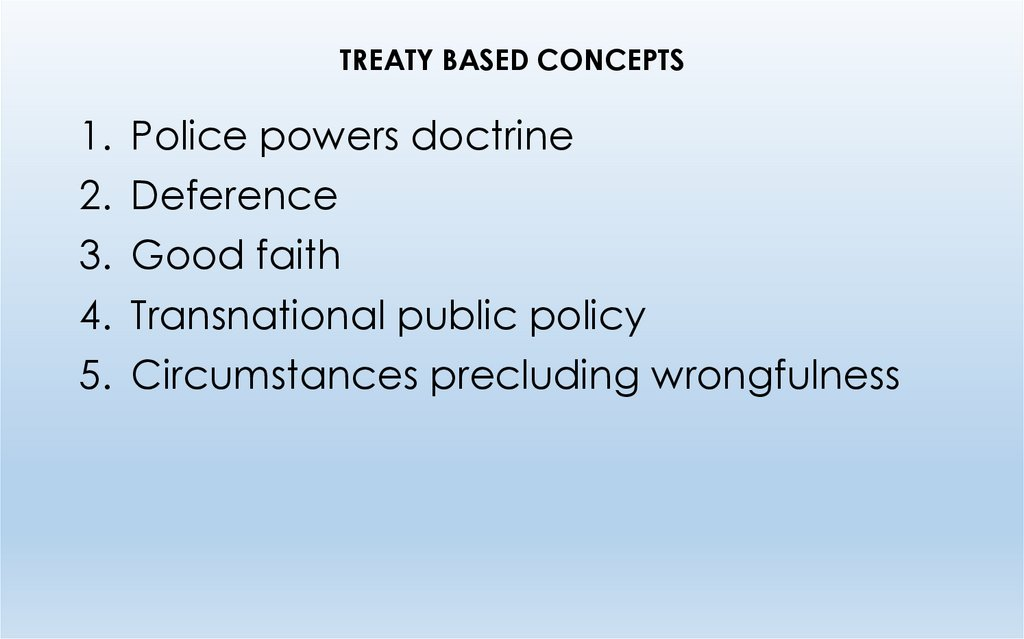TREATY BASED CONCEPTS