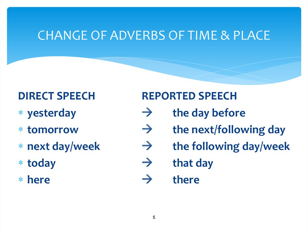 CHANGE OF ADVERBS OF TIME & PLACE