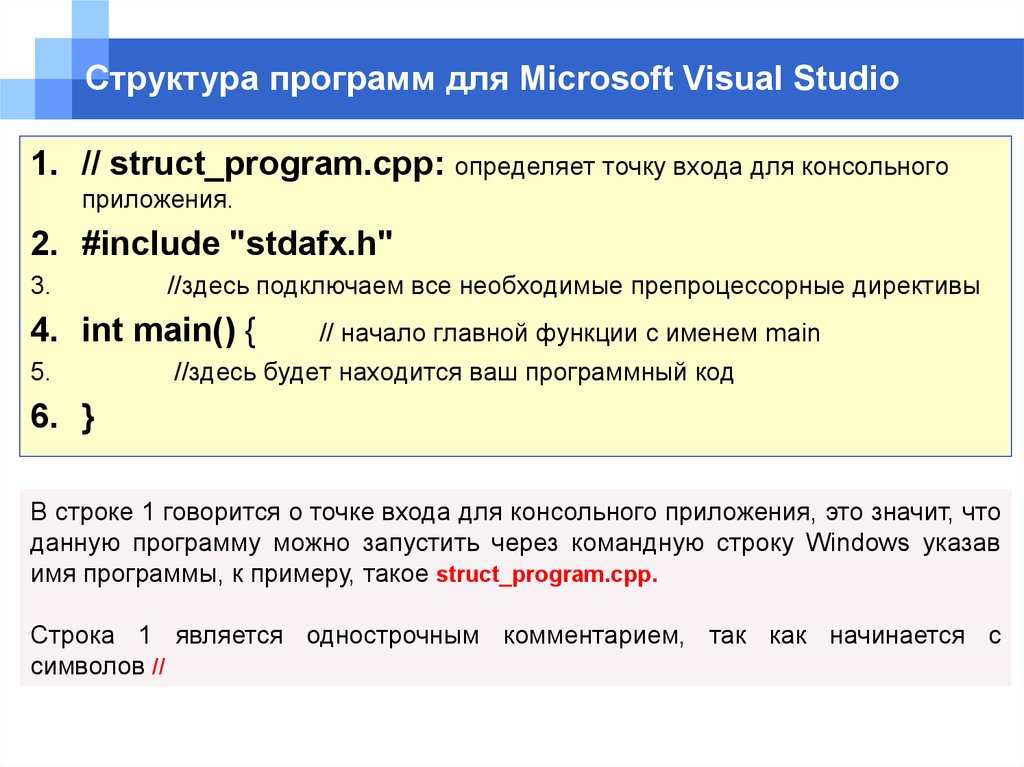 Структура программ для Microsoft Visual Studio
