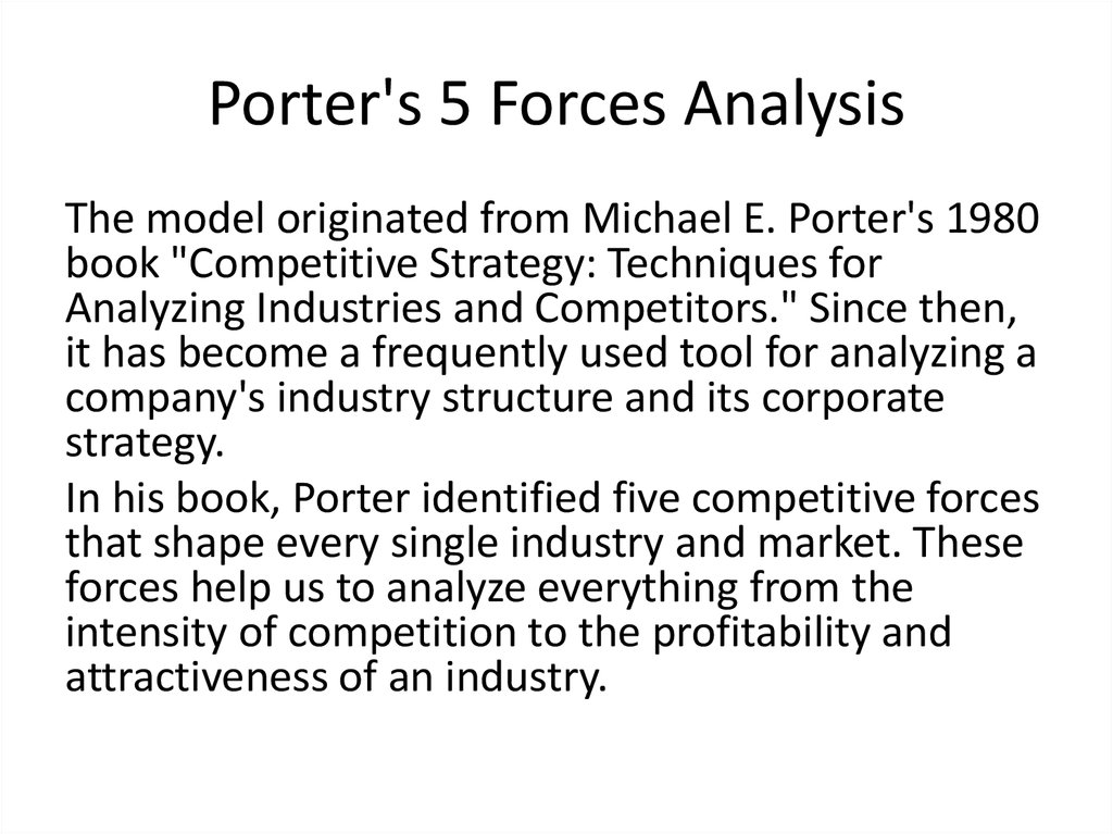 Porter's 5 Forces Analysis