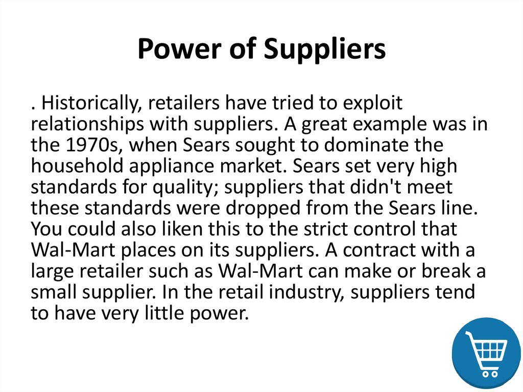 Power of Suppliers