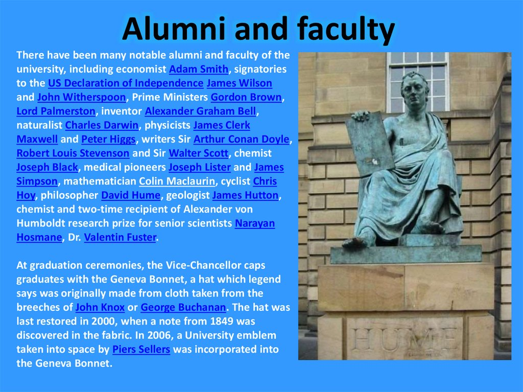 Alumni and faculty