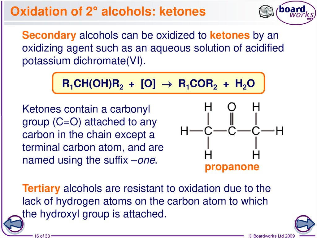 Oxidation of 2° alcohols: ketones