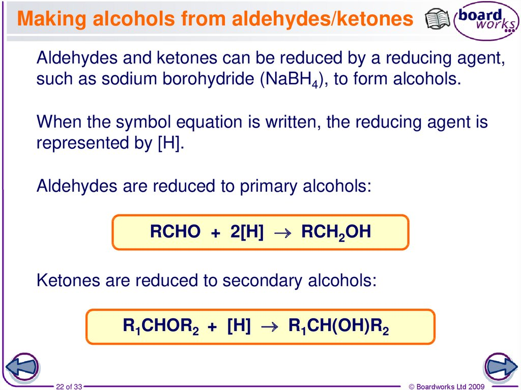 Making alcohols from aldehydes/ketones
