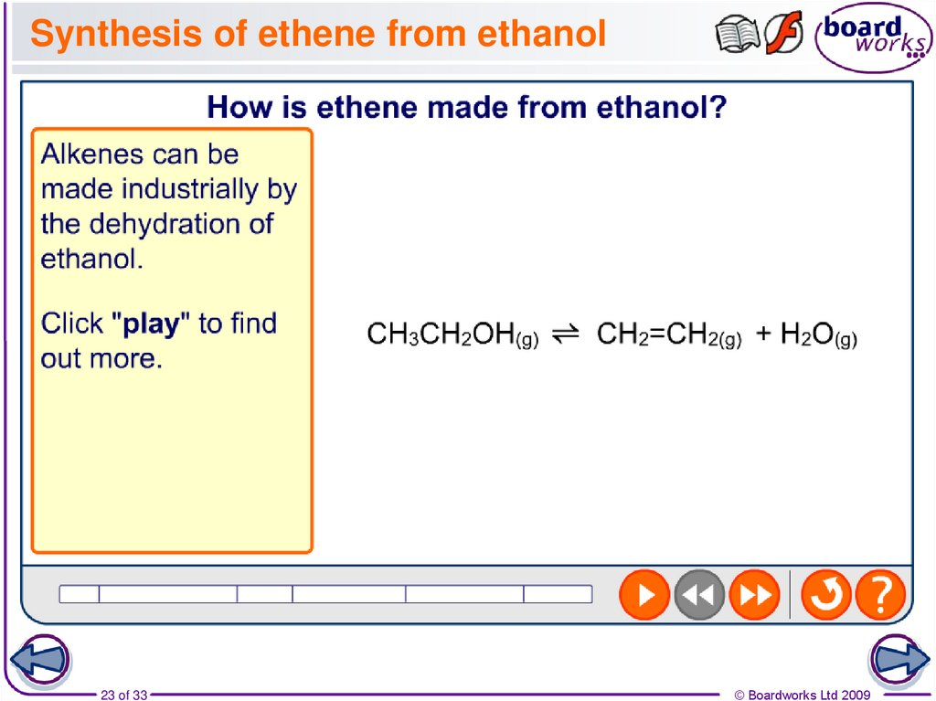 Synthesis of ethene from ethanol