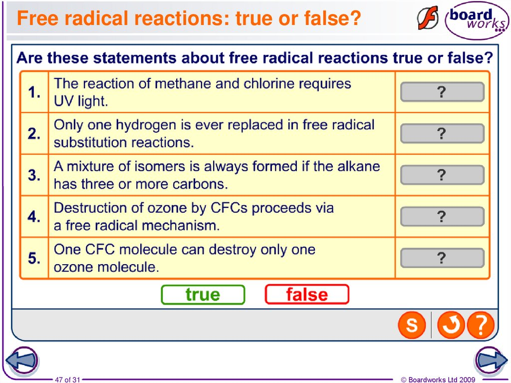 Free radical reactions: true or false?