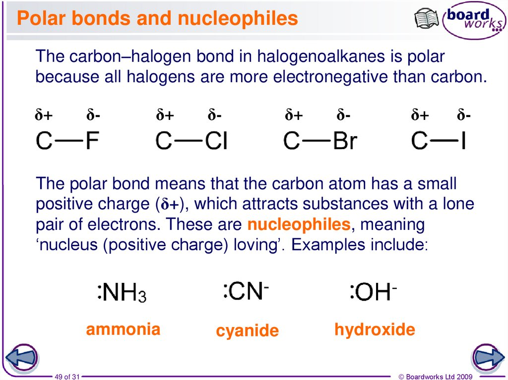 Polar bonds and nucleophiles