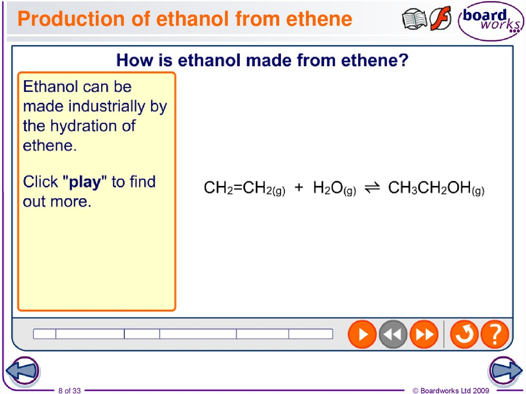 Production of ethanol from ethene