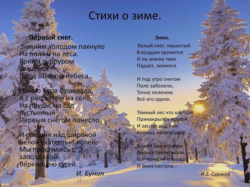 суждения стихи на тему первый снег касается типа