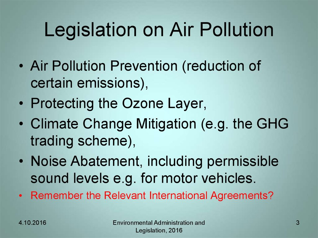 Legislation on Air Pollution