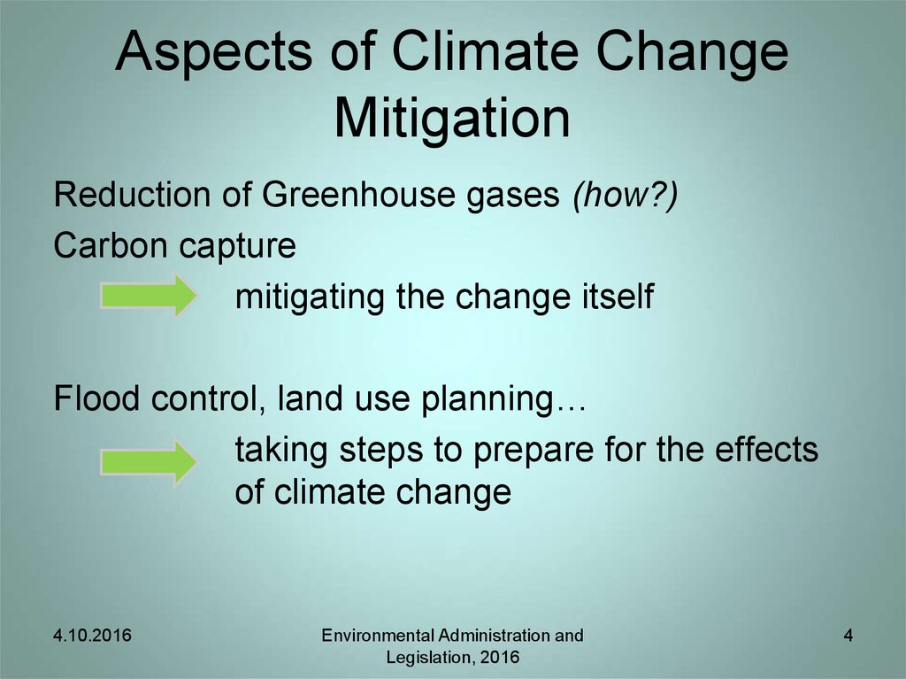 Aspects of Climate Change Mitigation