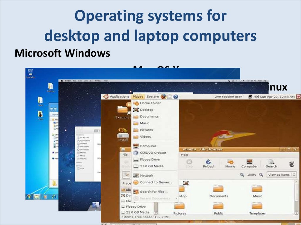 Operating systems for desktop and laptop computers
