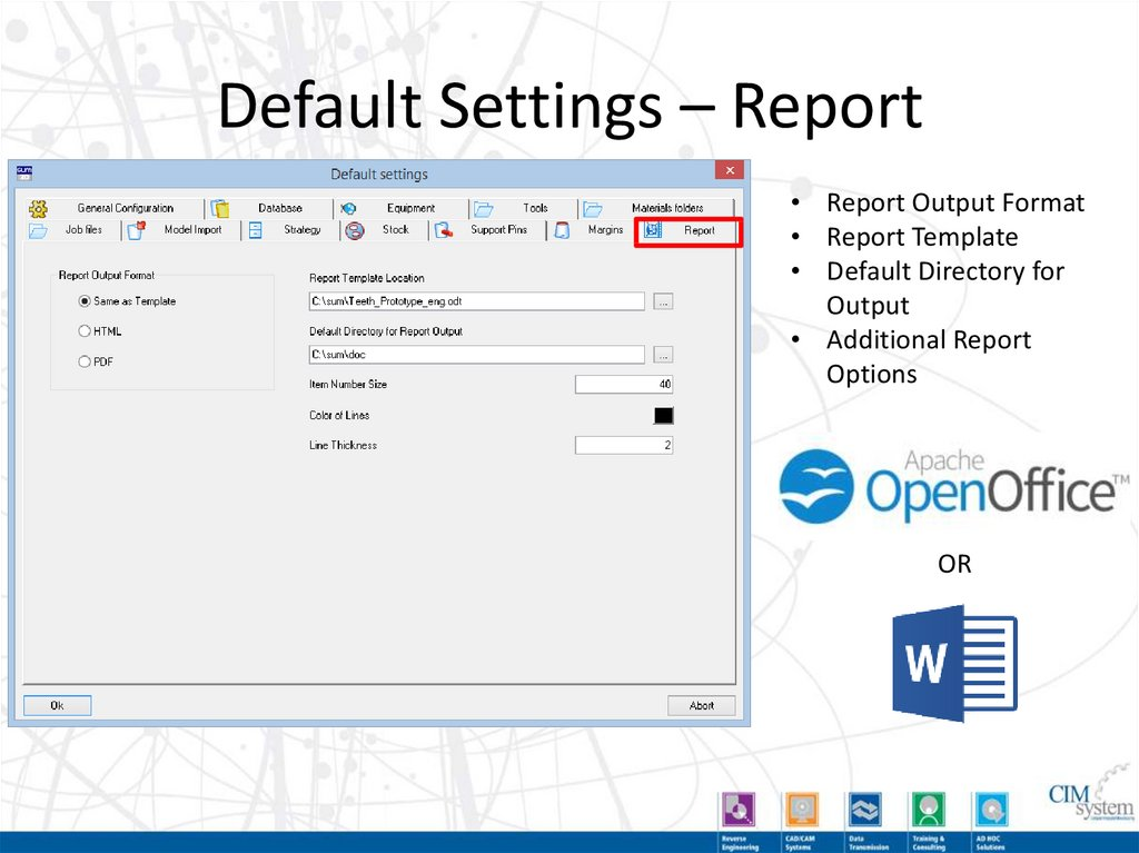 Default Settings – General Configuration