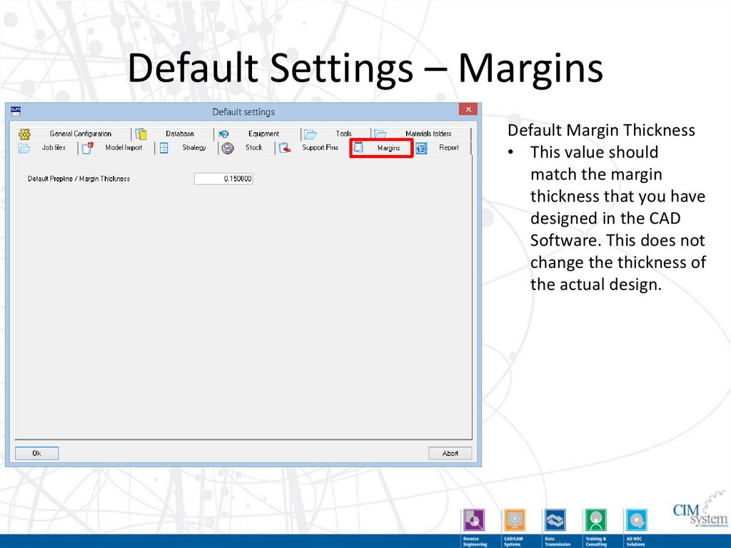 Default Settings – Database
