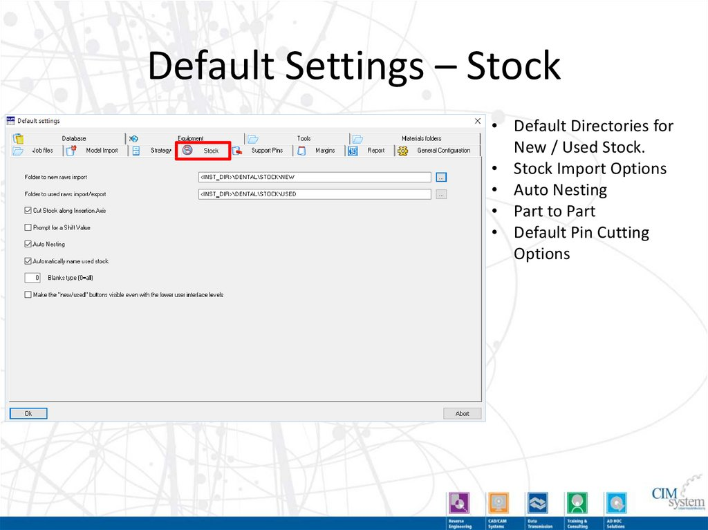Default Settings – Tools