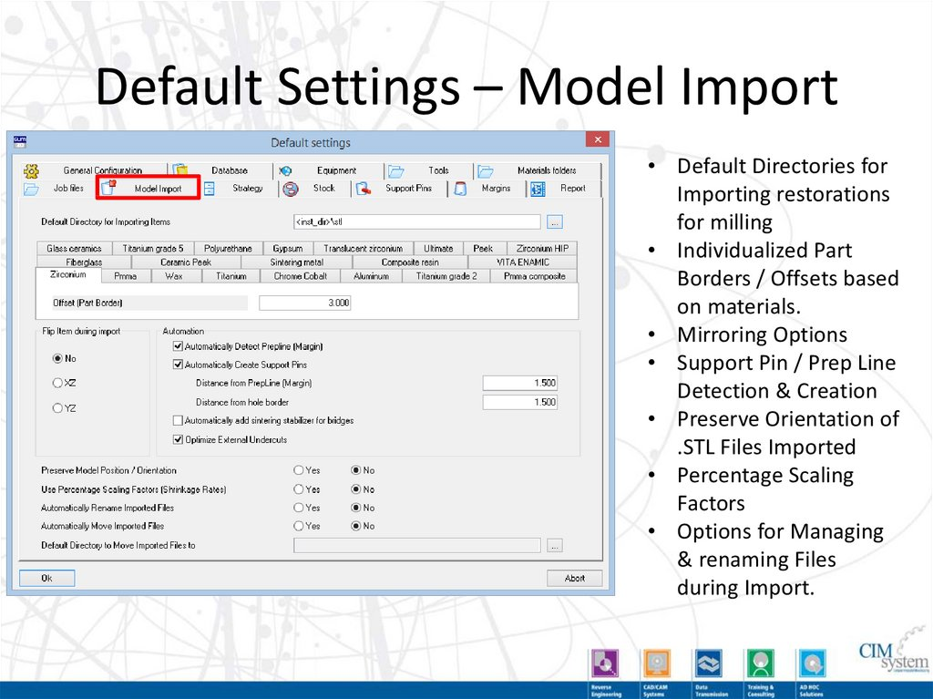 Default Settings – Report