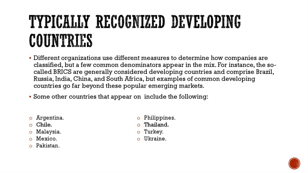 Typically Recognized Developing Countries