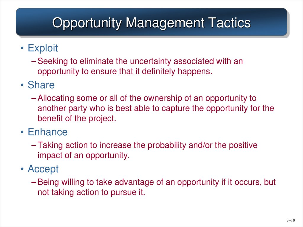 Opportunity Management Tactics