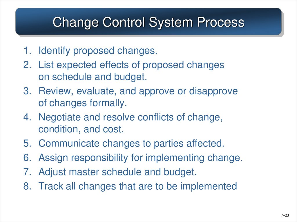 Change Control System Process