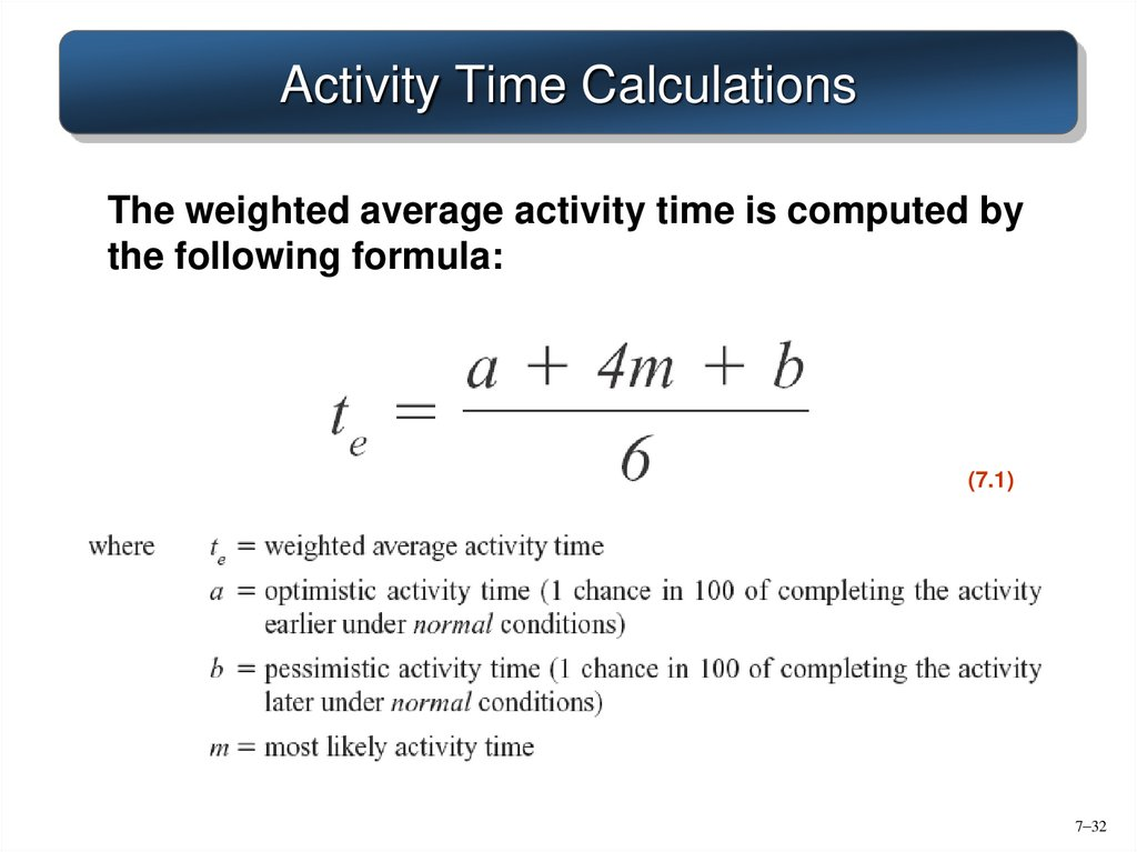 Activity Time Calculations