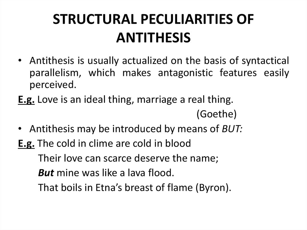 STRUCTURAL PECULIARITIES OF ANTITHESIS