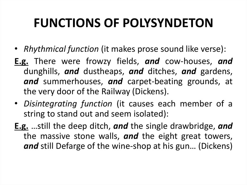 FUNCTIONS OF POLYSYNDETON